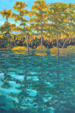 Rainbow River Painted by Florida Artist Gary Borse is available at Nikki Sedacca Gallery, 23 Winter Street Edgartown, Ma