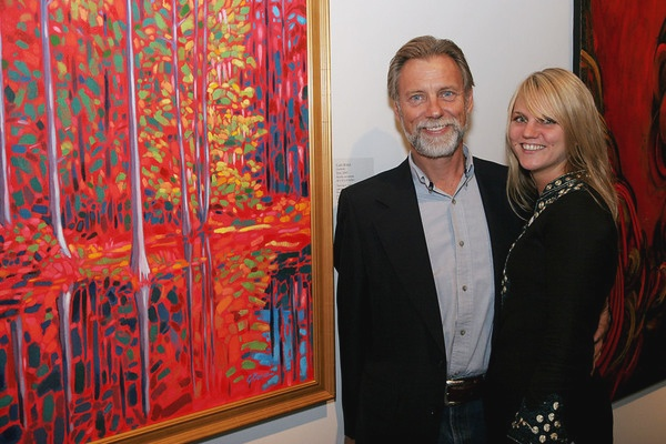 Gary Borse at the Boca Raton Museum of Art with painting Styx and daughter Katherine