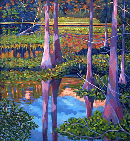 Mystic River painted by  Florida Artist Gary Borse, Collection of the State of Florida