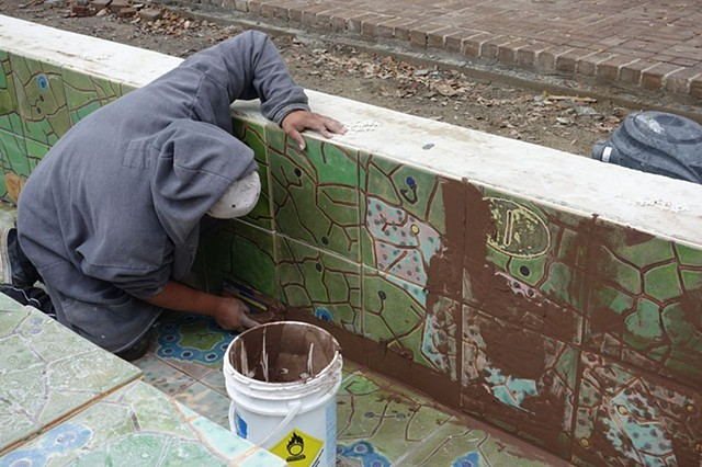 Grouting the tiles