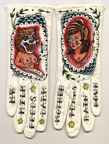 mom tattoo with leopard pin-up girl words on knuckles, tears,boobs, and scallop detail on leather gloves