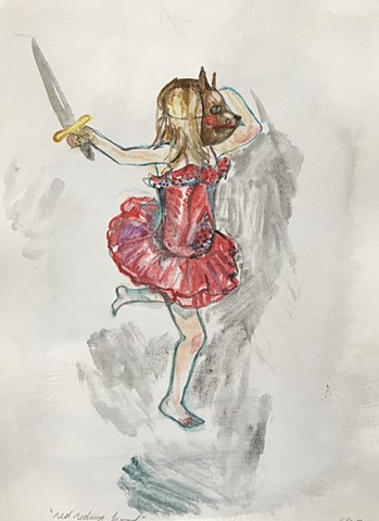 figurative painting with girl in a tutu