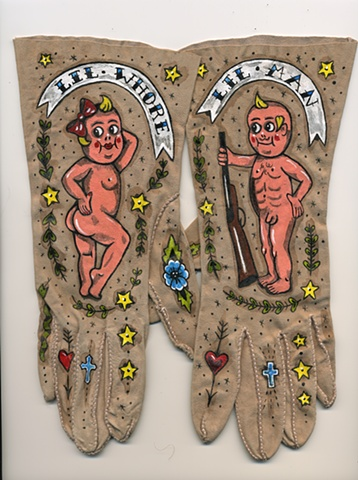 Kewpie doll tattoo theme painted on vintage women's gloves with flowers crosses and garlands