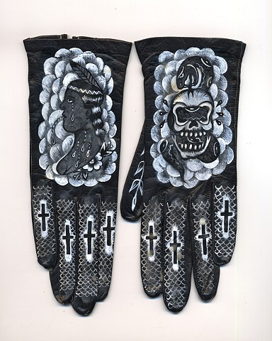 vintage gloves painted with tattoo imagery