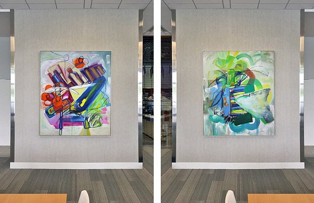 "Installation view of ""Study 13, Variation 4"" and ""Study 10, Variation 3"""