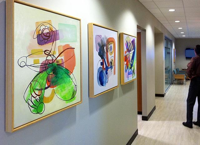 "Installation view of ""Study 2, Variation 2"", ""Study 8, Variation 1"" and ""Study 13, Variation 2"""