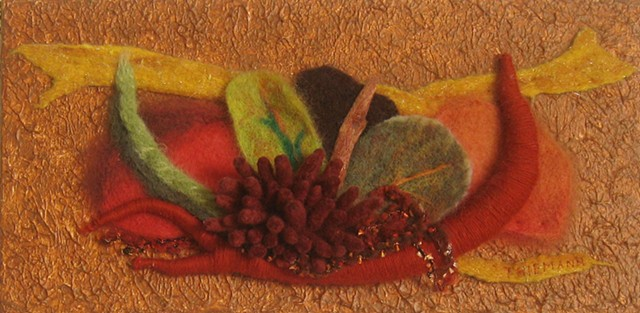 """Nature's Castoffs"" is a felted mixed media piece of contemporary fiber art by Linda Thiemann."