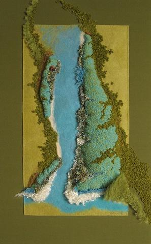 """Appalachian Passage"" is a Nuno felted mixed media piece of contemporary fiber art by Linda Thiemann."