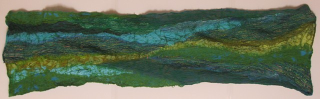 Green  and Blue Nuno Felted Scarf (green side)