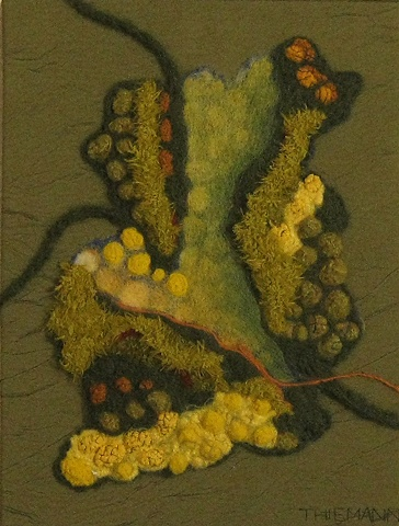 """""""Going Green"""" is a felted mixed media piece of contemporary fiber art by Linda Thiemann."""