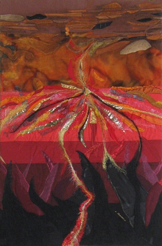 """""""Hell"""" is a felted mixed media piece of contemporary fiber art by Linda Thiemann."""