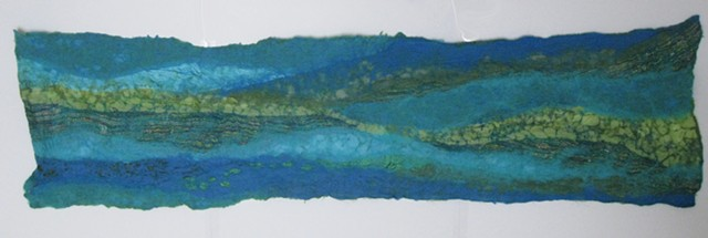 Green and Blue Nuno Felted Scarf (blue side)