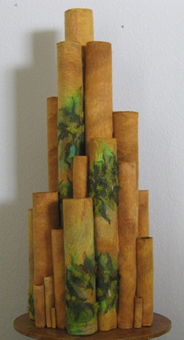 """""""Rock of Ages"""" is a felted mixed media piece of contemporary fiber art by Linda Thiemann."""