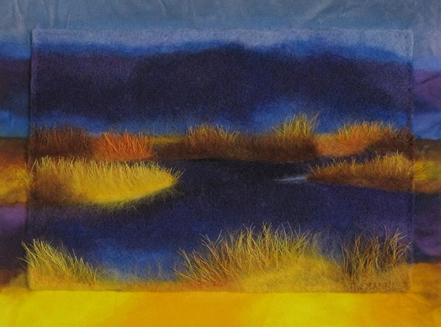 """""""The Marshland"""" is a felted mixed media piece of contemporary fiber art by Linda Thiemann."""