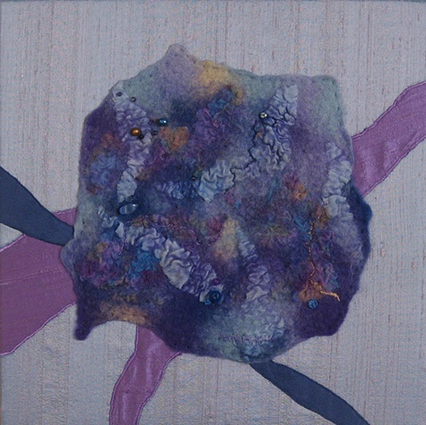 """Traversing the Microcosm"" is a Nuno felted mixed media piece of contemporary fiber art by Linda Thiemann."
