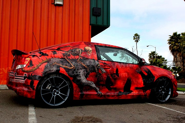 exposition signature artist car for Toyota Scion. The Farron Loathing car is driven to promotional spots for Scion, metal shows, dub step parties and other scion events.
