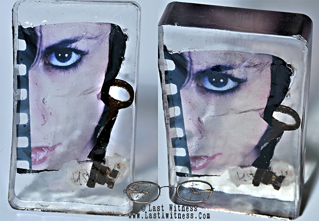 photo emulsion suspended in resin with antique key *this piece has been sold*