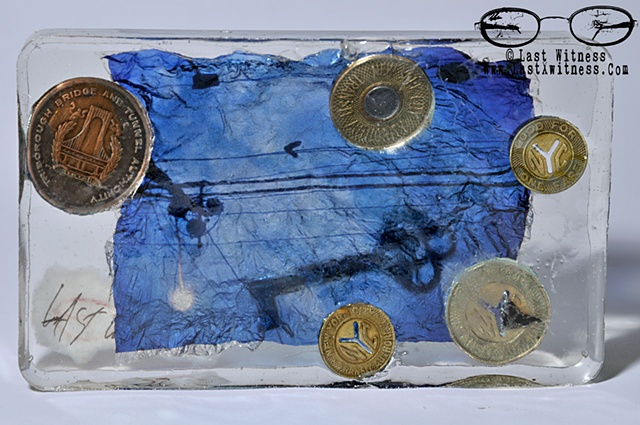 photo emulsion suspended in resin with antique key and vintage subway tokens and triboro bridge token