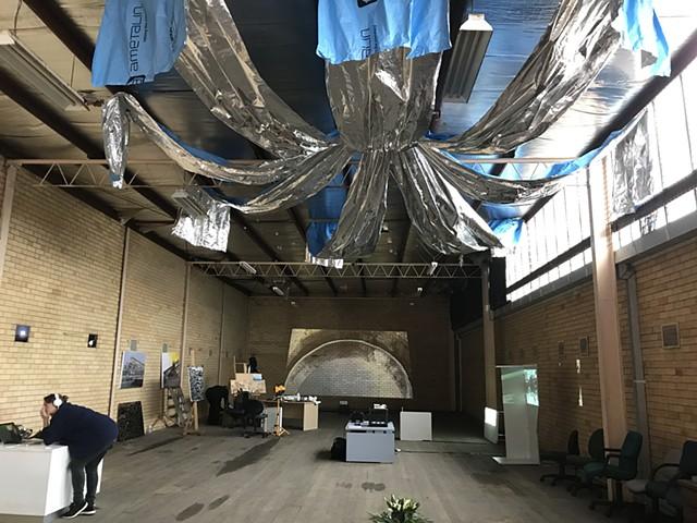 VacantGeelong-Iconic Industry-Open Studio - Amanda Shone Ceiling - Sarah Duyshart End Wall