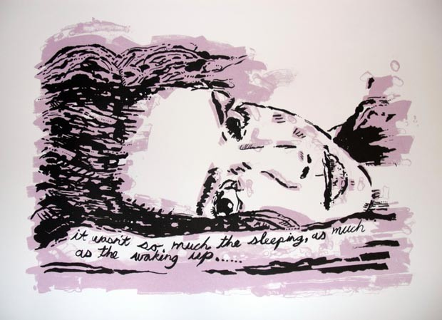 silkscreen drawing sleeping vs drawing pat snow art austin texas birmingham alabama two color design modern art