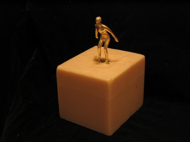 "Swim trophy in beeswax from the series ""We Were Winners Once"""