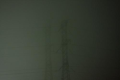 pylons in fog