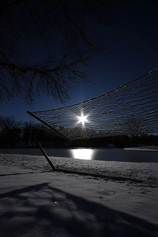 a hammock in the snow...