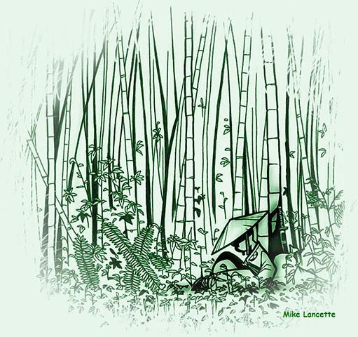 Samurai In The Bamboo Forest