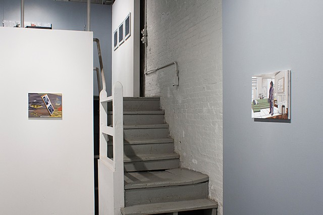 On Left: Sean Downey Four Members of the South Fork Fishing and Hunting Club, 2013  On Right: Sean Downey Boudu, Trying to Occupy Space, 2013