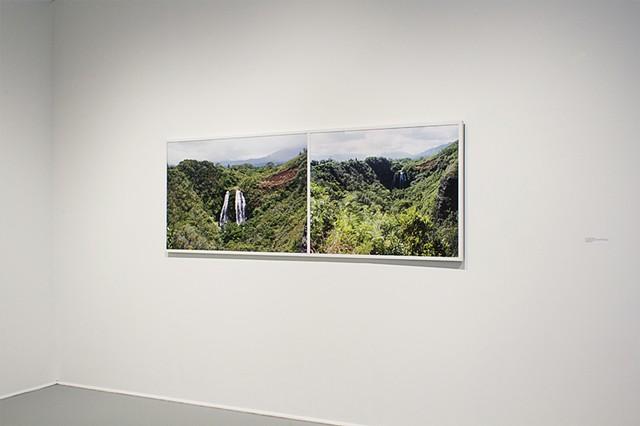 "Two Waterfalls (And I've Only Lived a Couple of My Dad's Lives), 2012-13  30"" x 84"" - Archival Inkjet Prints  Titled from L to R: A. Hawaii (circa 1999 – His Waterfall) B. Hawaii (circa 1999 – My Waterfall)"