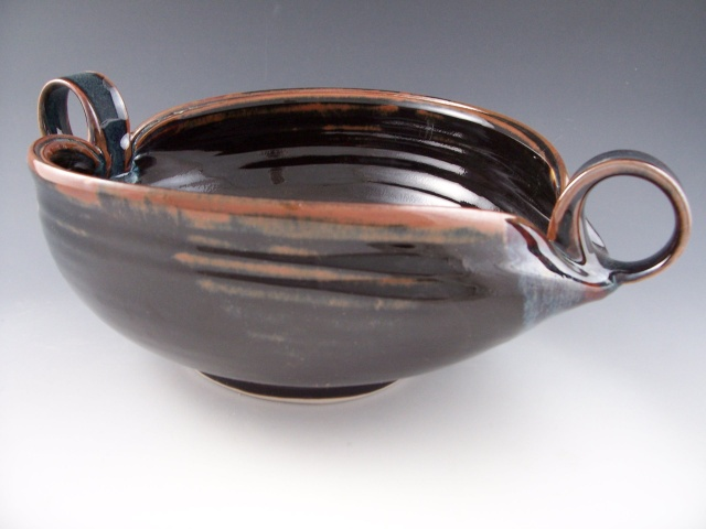 Altered Serving Bowl in Temmoku with Loop Handles