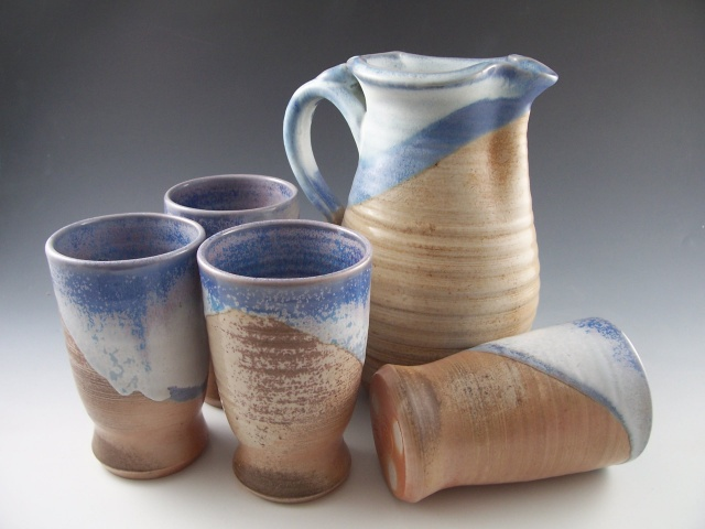 Wood Fired Pitcher and Tumblers