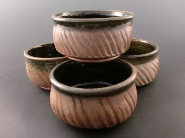 Wood Fired Tea Bowl Set with Temmoku accents
