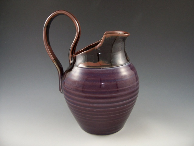 Pitcher in Plum with Temmoku Interior
