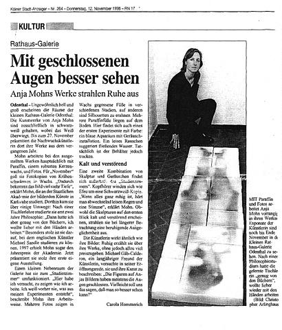 Anja Mohn, Koelner Stadtanzeiger, 1998, Carola Hommerich