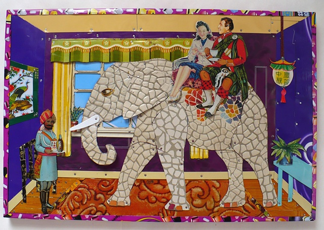 The Elephant in the Room made with Recycled tin by Jenny Fillius