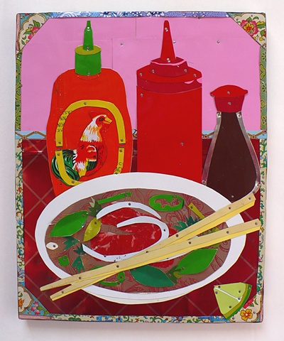 Pho, Viet Namese noodle soup in recycled tin by Jenny Fillius