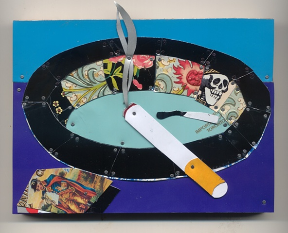 Smoking is an addiction not a habit in recycled tin by Jenny Fillius