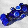 Cobalt blue double bead with raised dots