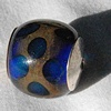 Capped blue and copper flush dot bead