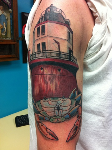Lighthouse and crab