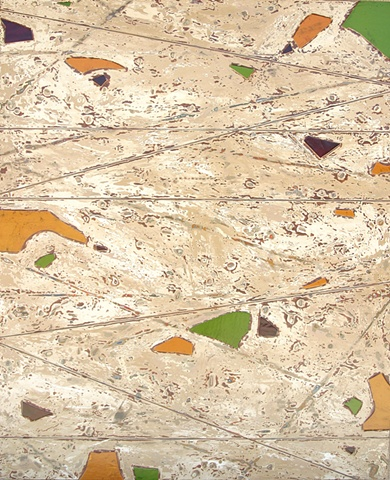 Amber, green and blue stained glass and intersecting brown lines on top of tan and cream background with embedded seeds, twigs and shells.