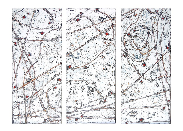This triptych has meandering brown lines atop a white, gray and black background with embedded bits of red bottle glass that have been sanded and polished to look like rubies.