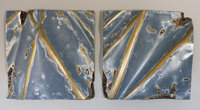 Painted bronze wall pieces