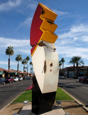 Large-scale outdoor piece on the median of El Paseo in Palm Desert for two year exhibition.  Piece is for sale.  Contact artist at 760-333-2271.