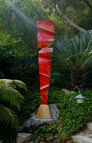 Glorious red Meridian bronze in beautiful Hollywood Hills setting. #outdoor #sculpture #bronze