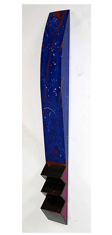 "Beautiful ""stars and comets"" on a background of multiple shades of blue make this shaped marker an extraordinary piece."