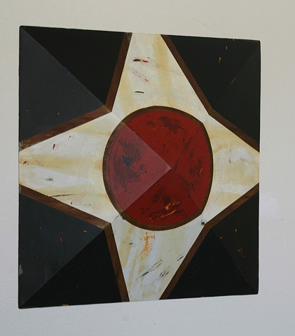 """Bright red and white pattern with black background on pyramid-shaped square that is 4"""" at its deepest point."""