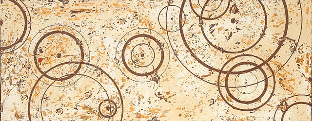 Medium brown raindrop lines on top of a cream and beige background with brown and yellow ochre highlights.