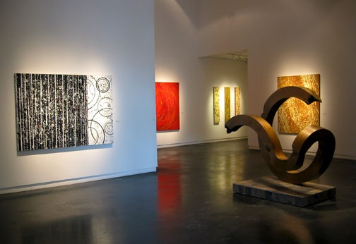 Viscus paintings and Luna sculpture at the Gail Severn show.